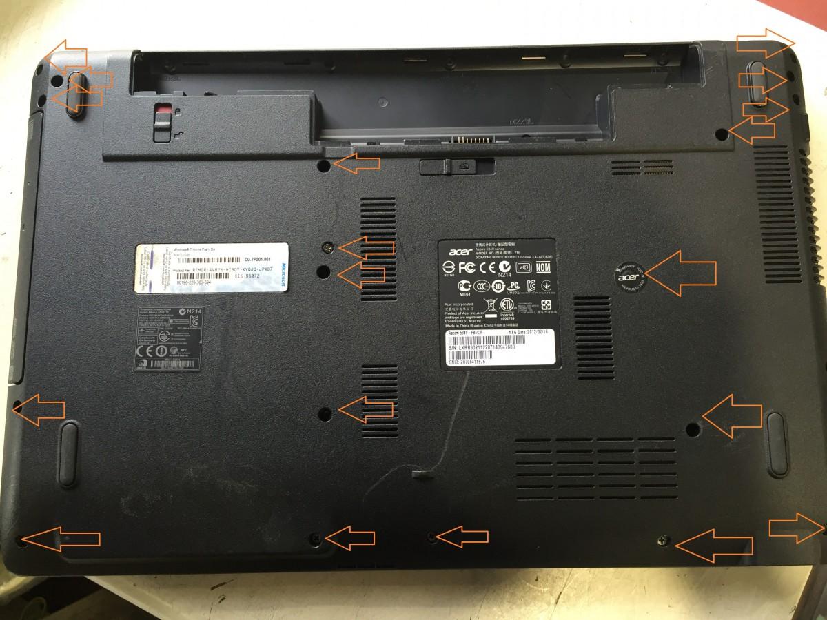 【acer Aspire AS5349】 ノートパソコンハードディスク、メモリ交換 分解方法